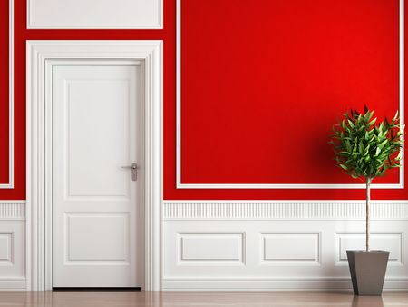 interior design of classic room in red and white colors with plant Stock Photo