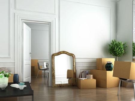 habitacion desordenada: escena de interior plana el d�a de movimiento en
