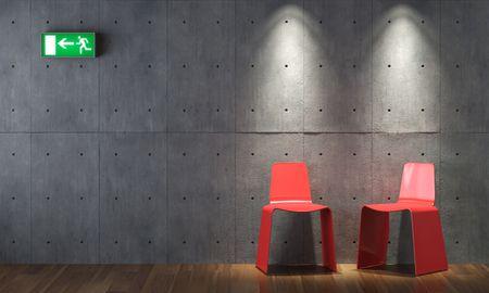 salida de emergencia: dise�o de interiores de dos sillas de color rojo en la pared de hormig�n, con salida de emergencia