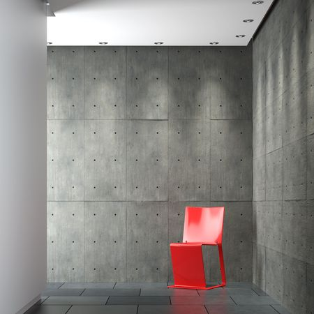 sparse: interior design of modern sparse composition with red chair on concrete wall corner Stock Photo
