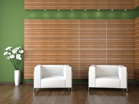 interior design of modern waiting room with wood cladding on green wall Stock Photo