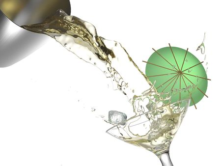 bartend: cocktail splashing from a shaker into a glass with ice cubes and green umbrella isolated in white backgrouond. THIS IMAGE CONTAINS A PATH