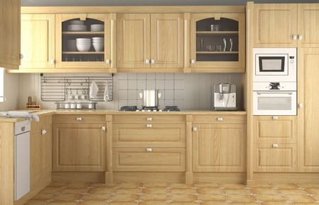 interior design of wood classic kitchen in neutral colors and full equipped