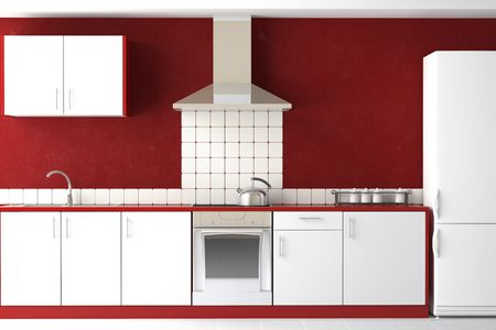 interior design of clean modern red and white kitchen  photo