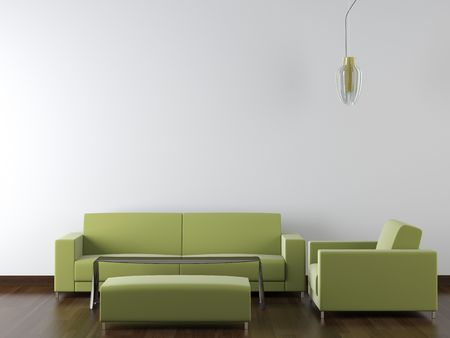 copy room: interior design of modern green living room furniture against white wall with a lamp hanging and lots of copy space Stock Photo