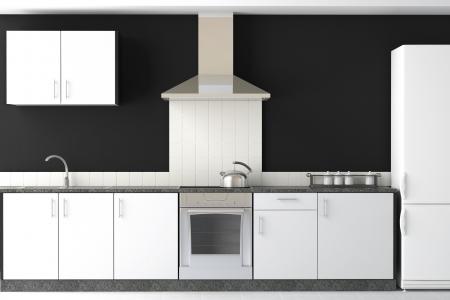 interior design of clean modern black and white kitchen