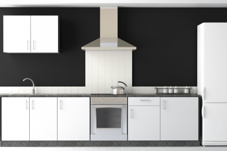 countertop: interior design of clean modern black and white kitchen