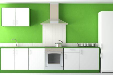 modern kitchen domestic home house: interior design of clean modern green and white kitchen