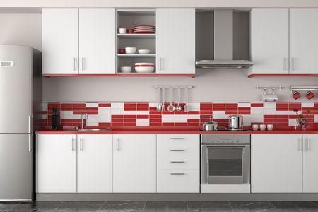 azulejos cocina: dise�o de interiores de cocina moderna rojo y blanco y limpio Foto de archivo
