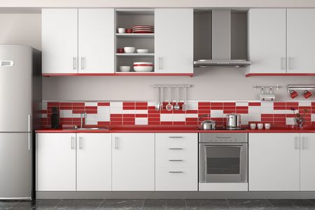 interior design of clean modern red and white kitchen
