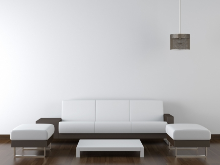 copy room: interior design of modern white and brown living room furniture against white wall with a lamp hanging and lots of copy space