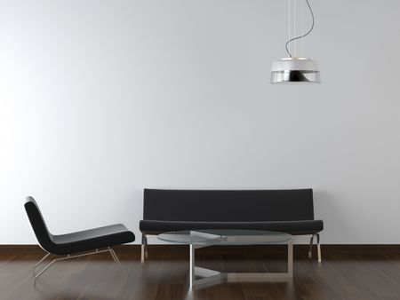 interior design black living room furniture and lamp on white wall with copy scape Stock Photo - 4902719