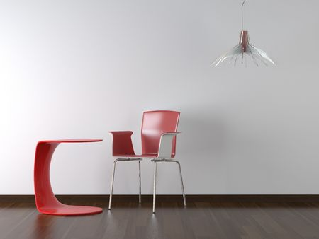 interior design red chair table and lapm on white wall with copy space