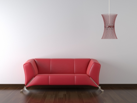 livingroom minimal: interior design red leather couch and lamp on white wall with copy space