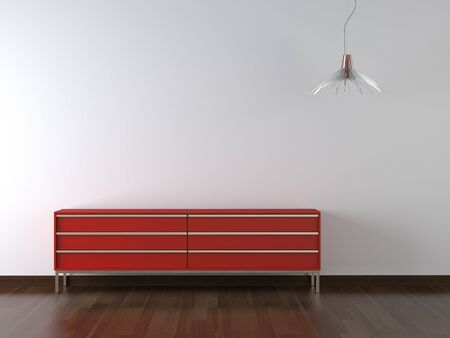 interior design red furniture and lamp on white wall with lots of copy space Stock Photo