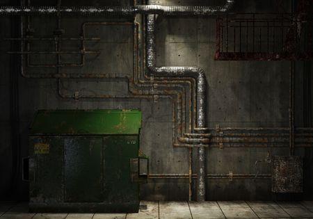 backstreet: grunge habitaci�n interior de una nave industrial abandonada que muestra un muro de hormig�n con una gran cantidad de tubos, escaleras y un cubo de basura