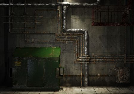 grunge interior room of an abandoned industrial warehouse showing a concrete wall with lots of pipes, stairs and a garbage can Stock Photo - 4902724
