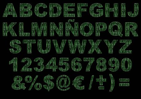 breen: Alphabet 3d letters simulating the matrix green code isolated against black background. IMAGE CONTAINS A CLIPPING Stock Photo