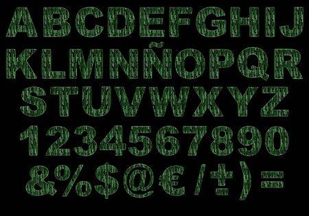 breen: Lettere 3d Alphabet simulando il codice a matrice verde isolato sullo sfondo nero. Immagine contiene un ritaglio PATH