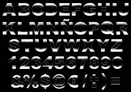 Las letras del abecedario en 3D hecho de un metal muy brillante aislada contra el fondo negro. Imagen contiene un trazado de recorte Foto de archivo - 4967324