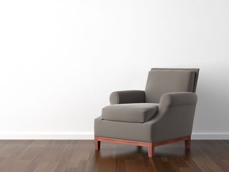 interior design of brown armchair against a white wall with copy space Stock Photo - 4967322