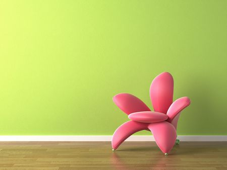 interior design of vibrant green wall with pink flower shaped armchair Stock Photo