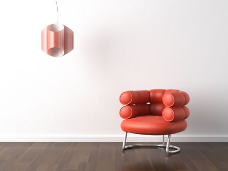 interior design of modern orange armchair and lamp against a white wall with copy scape Stock Photo - 4967326