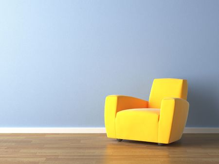 interior decor: interior design of modern yellow armchair againsta a blue wall with lots of copy space Stock Photo