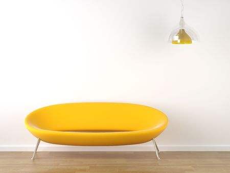 interior design of vibrant yellow couch against a white wall with a hanging lamp and lots of copy space