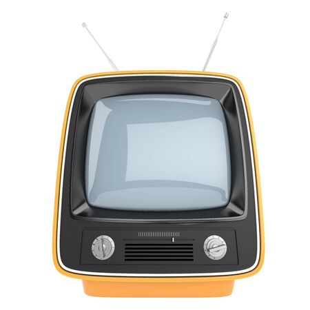 frontal view: frontal view of an orange retro syle TV, THIS IMAGE CONTAINS A CLIPPING