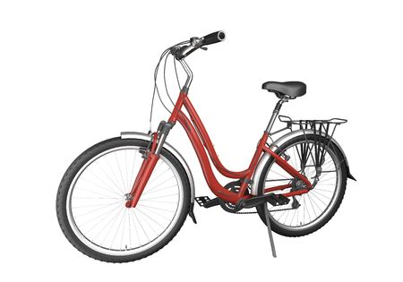 off road biking: red bike isolated on white background. This image contains a clipping