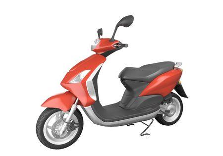 cycles: scooter rouge isol� sur fond blanc. Cette image contient un chemin de d�tourage Banque d'images