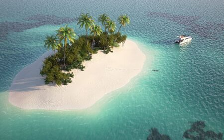 aerial view of a caribbean desert island in a turquoise water with a woman diving and a yatch as a concept for quiet vacations  photo
