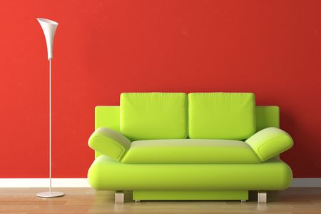 interior design of a green modern couch on a red wall Stock Photo - 5085044