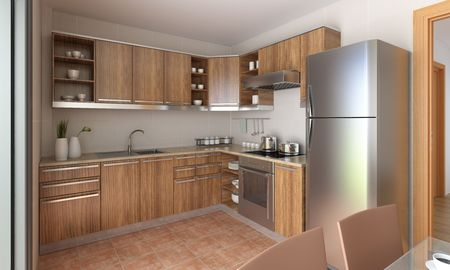 interior design of a modern kitchen in tan and wood. This is a 3d render no model release needed photo