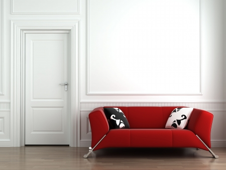 3d interior scene of a red couch on white classic wall. This is a 3d render no model release needed Stock Photo