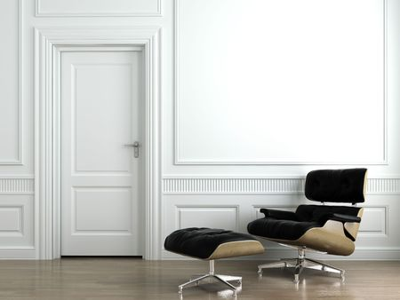 molding: 3d scene of leather armchair on white classic interior wall. This is a 3d render no model release needed