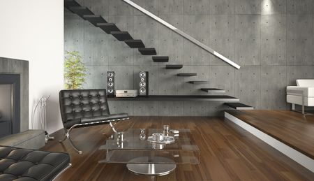interior design of modern architecture living room. This is a 3d render no model release needed Stock Photo - 5092821