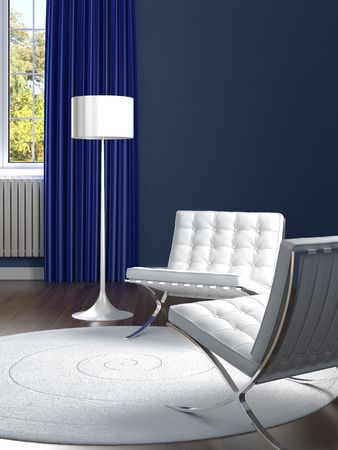 interior design of classic blue room with two white barcelona chairs photo