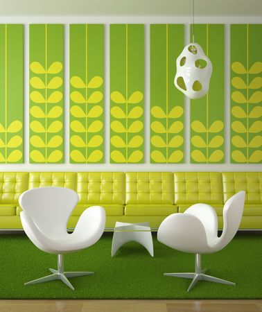 retro interior design in green colors with two white chairs in front Stock Photo - 5117678