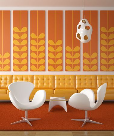 retro interior design in orange and yellow colors with two white chairs in front Stock Photo - 5117679