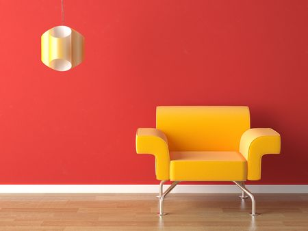 colorfully: interior design modern yellow couch on red wall with a lamp and copy-space