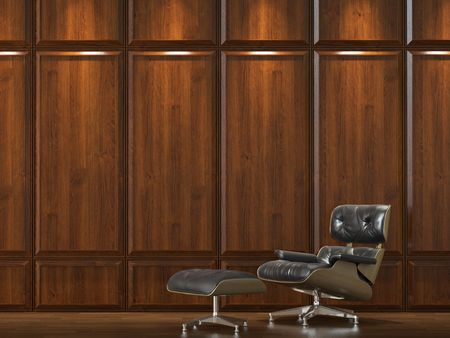 interior design of dark wood cladding wall with a comfortable leather sofa photo