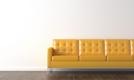 interior design of yellow couch on a white wall with copy space on the left Stock Photo - 5392581