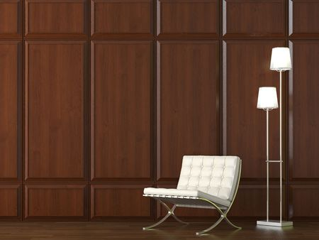 interior design of classic leather chair and lamp on dark wood cladding wall photo
