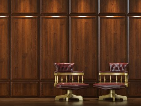 interior design of wood cladding wall with two classic golden chairs photo