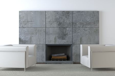 interior design of modern armchairs on front of a concrete fireplace photo