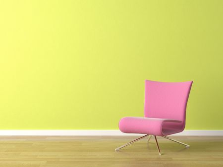 colorfully: interior scene of pink modern chair on a green wall