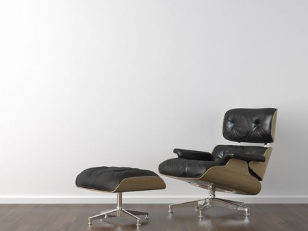 interior design of classic black leather armchair on white wall with copy space Stock Photo - 5453602