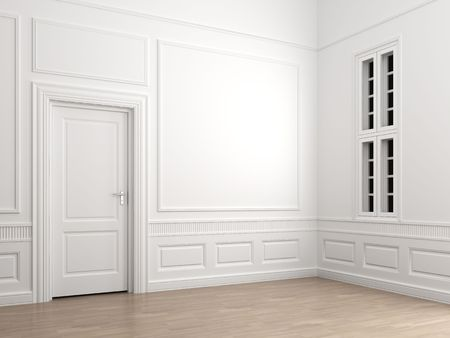 Interior Schauplatz eines emprty Raumecke mit einer geschlossenen Tür und ein Fenster Standard-Bild